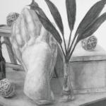 静物デッサン[石膏像、脚立、観葉植物ほか]