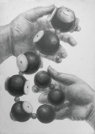 構成デッサン[手と想定のおもちゃ]