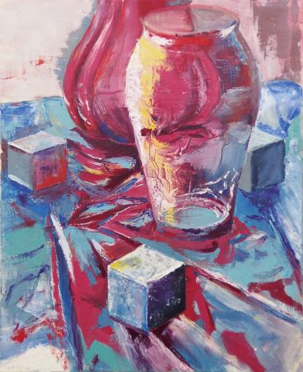 油彩/ミラーシート、花瓶、発泡立方体 F15