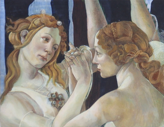 テンペラ/ボッティチェリ「春」模写 45×35cm木板