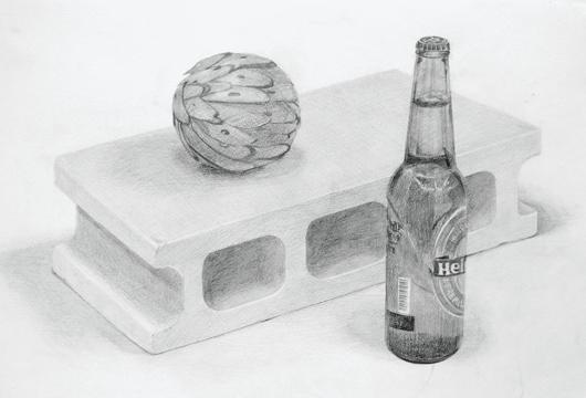 机上デッサン[ブロック、瓶、球体]
